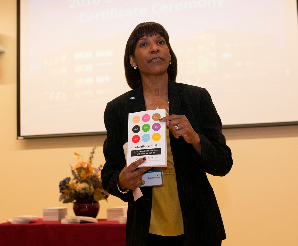 Virginia Tech Carilion School of Medicine's chief diversity officer, Karen Eley Sanders speaks at a Diversity Associate Ceremony.