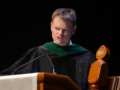 Dr. John Burton, department chair and professor of emergency medicine, was selected by the students to give the faculty commencement address.
