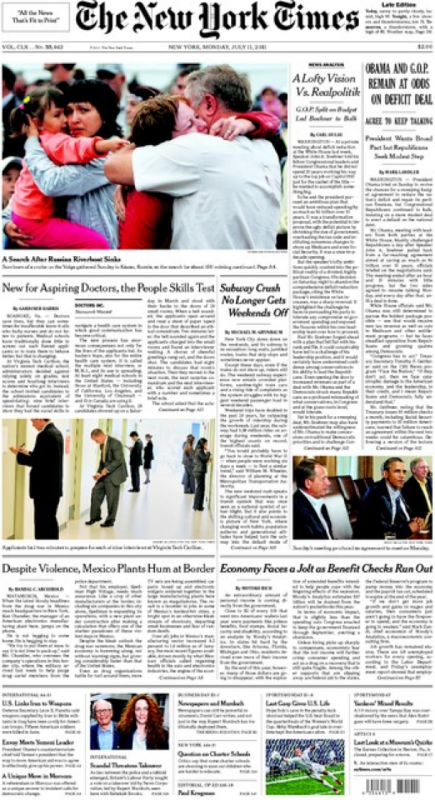 New York Times cover on July 11, 2011 featuring MMI article