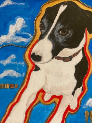 black and white dog on a blue background with clouds