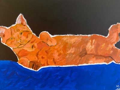orange cat on blue blanket