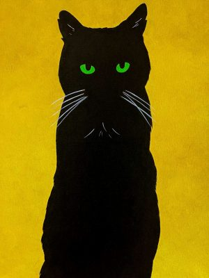 black cat on a yellow background