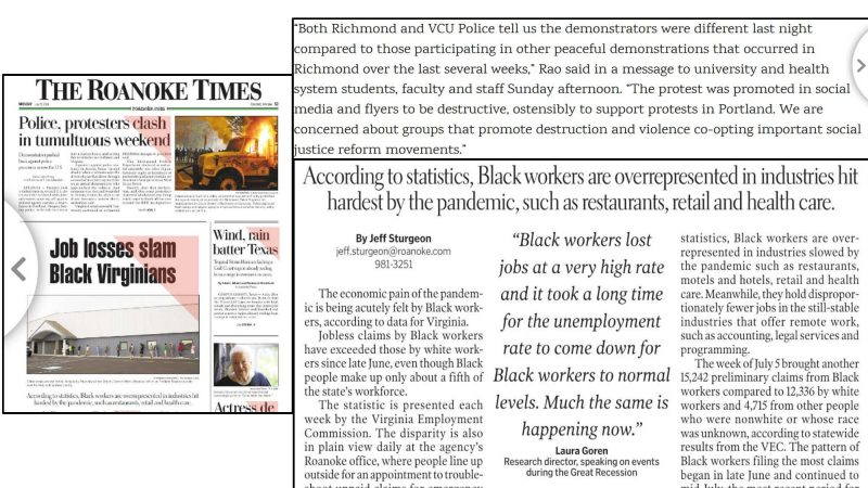 screenshots of three articles surrounding protesters and job losses. Two headlines read Job losses slam Black Virginians, and According to statistics, Black workers are overrepresented in industries hit hardest by the pandemic, such as restaurants, retail, and health care.