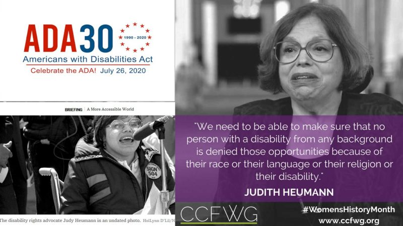 ADA 30 (1990-2020). Americans with Disabilities Act. Two images of Judith Heumann are shown, from 1990 and 2020.