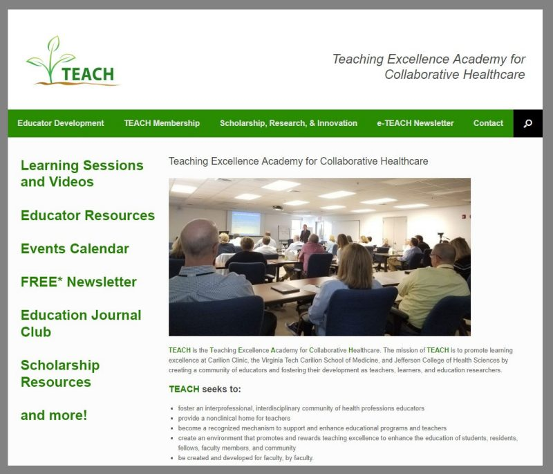 A screen capture of the TEACH website. Click on the image to access the website.