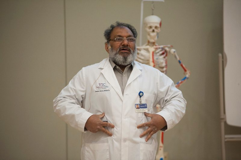 Dr. Saleem Ahmed with the Virginia Tech Carilion School of Medicine gives the crowd a lesson in anatomy.