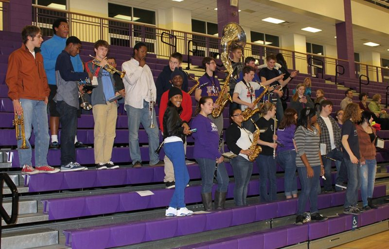 The Patrick Henry High School pep band helped provide ambiance and spirit.