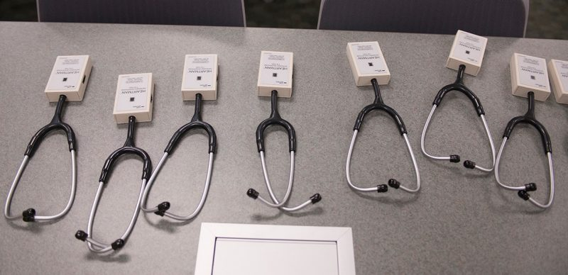 Practice stethoscopes used at the Virginia Tech Carilion School of Medicine during the 2015 Mini Medical School