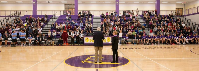 "Dan and Gil Harrington speak to the crowd during the 4th annual ""Docs for Morgan"" basketball game."