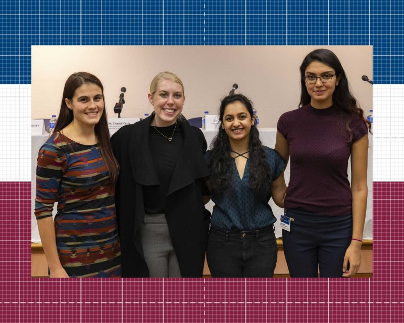 The student officers for the Group on Women in Medicine and Science at the Virginia Tech Carilion School of Medicine left to right: Lynn Stanwyck, Caroline Woods, Vrinda Shukla, and Kritika Chugh.