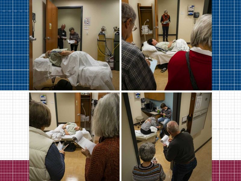Four scenes of mini-medical observers watching standardized patients act out scenarios