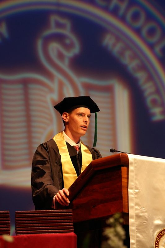 Graduation speaker and class president Matthew Joy