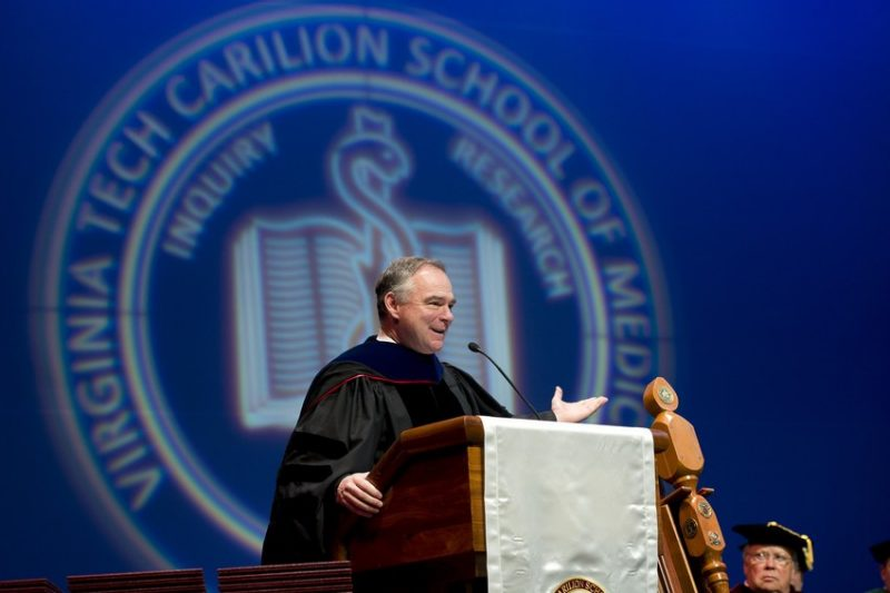 U.S. Senator Tim Kaine addresses graduates