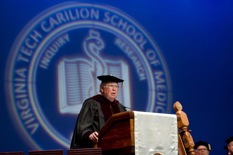 Ben J. Davenport, chairman of the Virginia Tech Carilion School of Medicine's Board of Directors, acknowledged the school's founding and current board members.