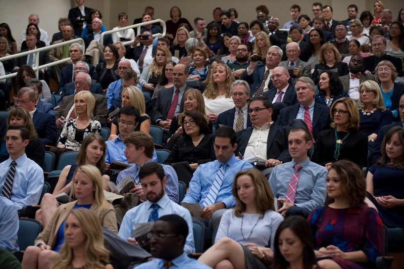 The auditorium was standing room only for the Class of 2018 White Coat Ceremony.