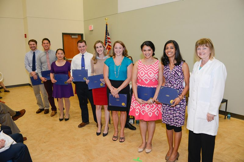 Members of the Virginia Tech Carilion School of Medicine's Class of 2017 are recognized with Letters of Distinction during the Student Clinician's Ceremony.