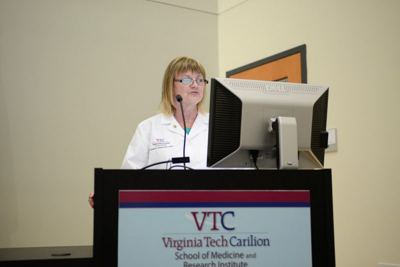 Dean Cynda Johnson of the Virginia Tech Carilion School of Medicine speaks to the Class of 2017 during the Student Clinician's Ceremony.