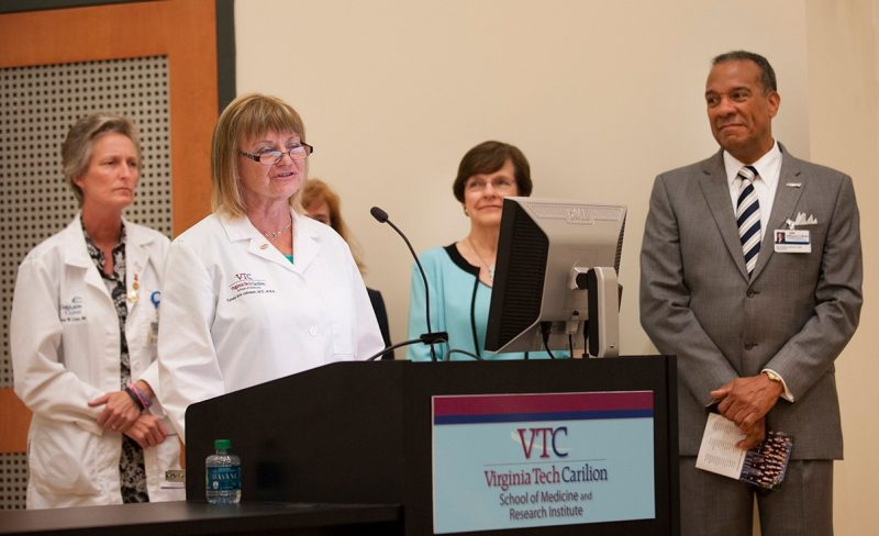 Dr. Tracey Criss, Dean Cynda Johnson, and Dr. Kathy Dorey of the Virginia Tech Carilion School of Medicine, and Dr. Nathaniel Bishop of the Jefferson College of Health Sciences
