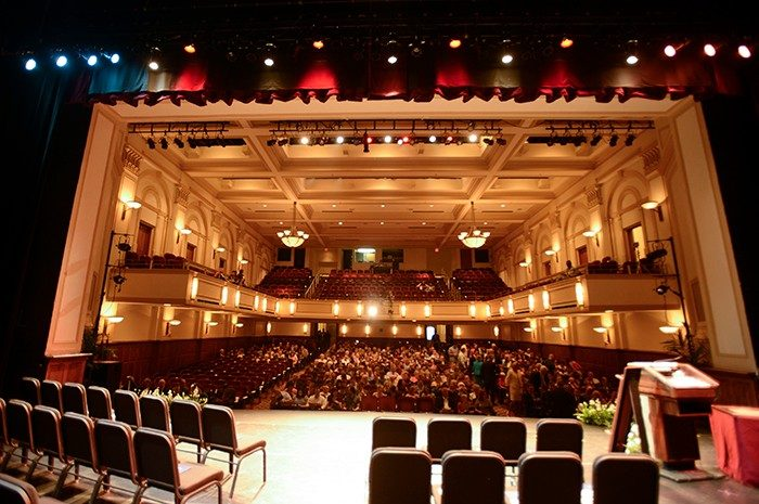 View from the stage inside the Shaftman theater in historic Jefferson Center
