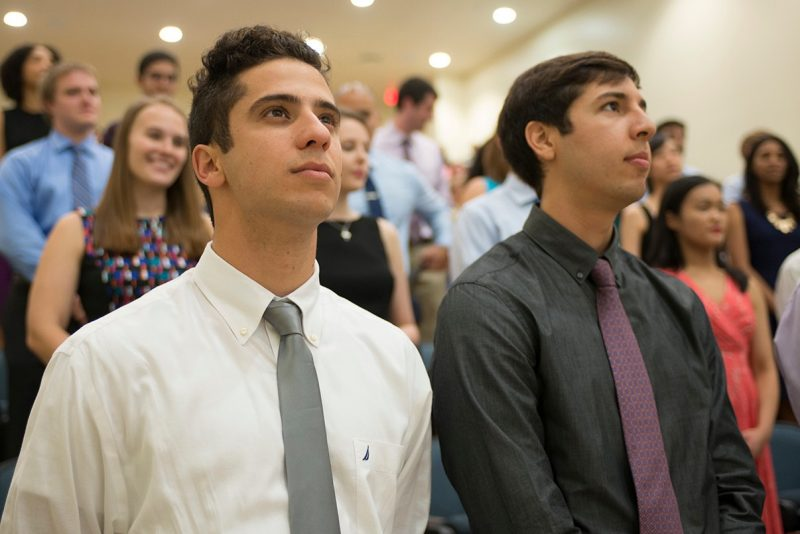 Hyman Abunimer (left) and Oscar Alcoreza of the Virginia Tech Carilion School of Medicine's Class of 2019