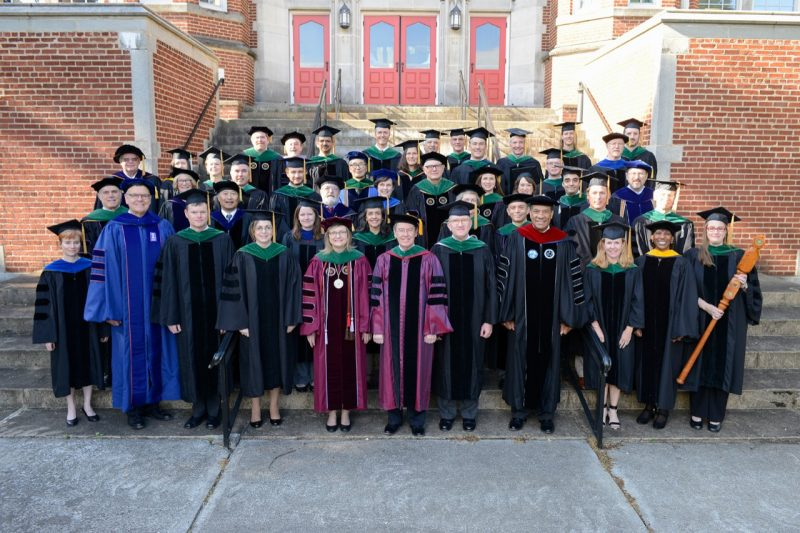Deans, faculty members, and invited guests of the Virginia Tech Carilion School of Medicine pose for a group photo before commencement exercises on Saturday, May 7, 2016.