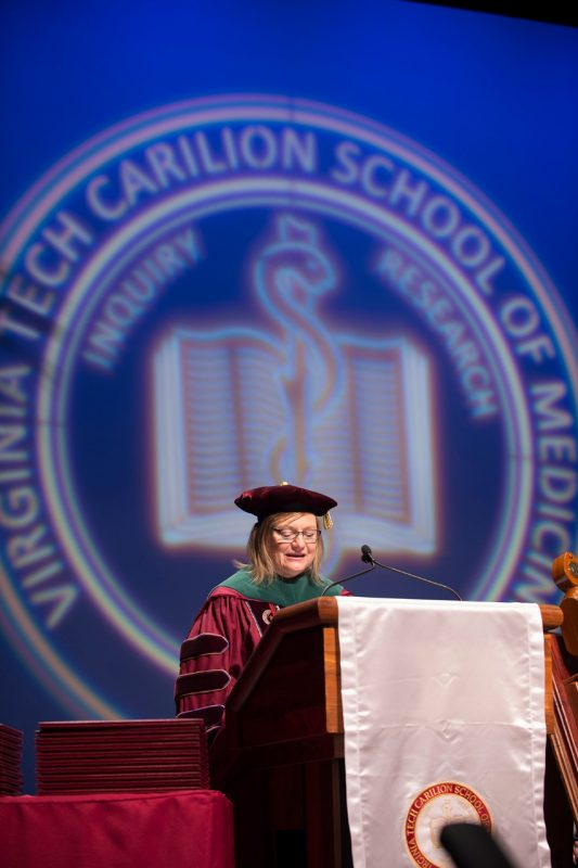 President and Founding Dean Cynda Johnson, MD, conducts graduation exercises for the Class of 2016 of the Virginia Tech Carilion School of Medicine.