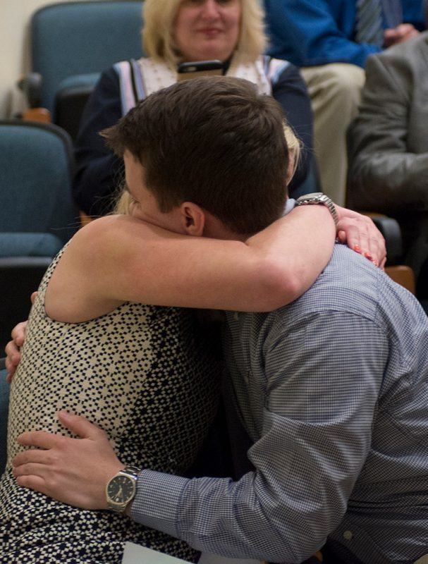 Katharine Hollnagel hugs her boyfriend Zane Giffen after learning they matched in the same residency program.