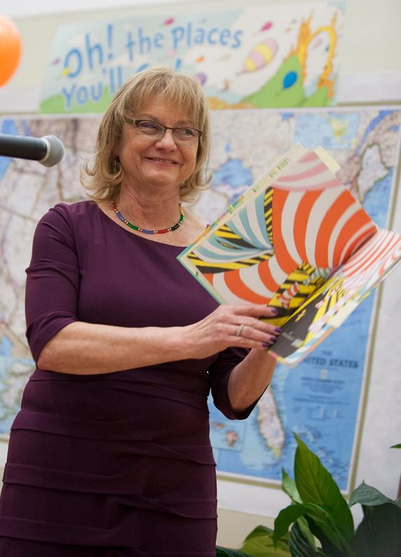 "Dean Cynda Johnson, MD reads the Dr. Seuss classic ""Oh! The Places You'll Go"" as part of the school's Match Day celebration."