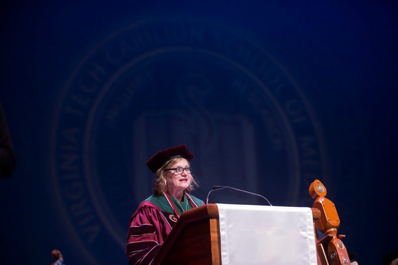 Founding Dean Cynda Johnson, M.D. makes her opening comments during graduation exercises.