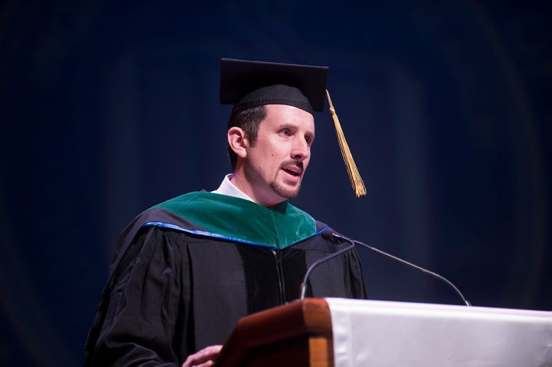 Jack Perkins, M.D. was selected by the class to speak on behalf of the school's faculty.