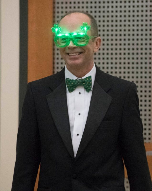 Dr Aubrey Knight, dresses in festive glasses during Match Day celebrations.