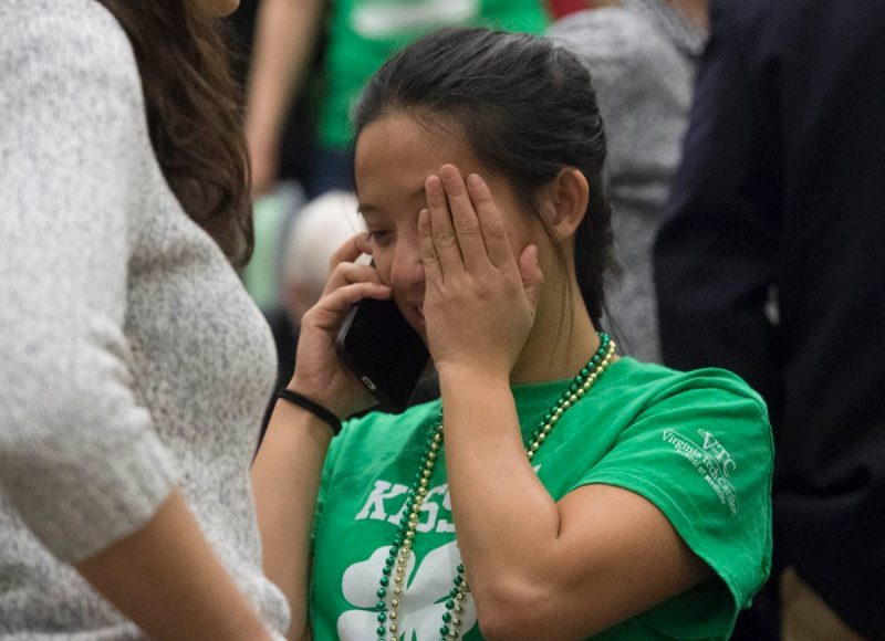 Fourth-year medical student Aiwen Liu calls family with the news